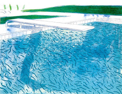 """David Hockney, """"Lithograph of Water Made of Thick and Thin Lines and a  Light Blue Wash and a Dark Blue Wash"""", lithograph, 26 x 34 1/2"""", 1980."""