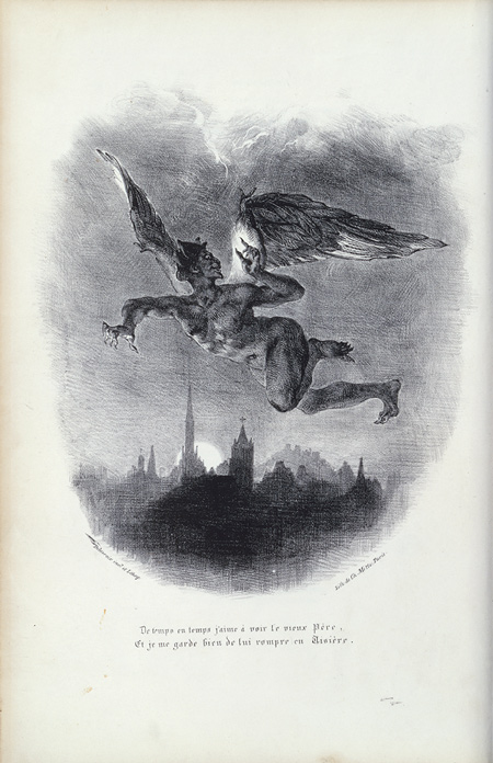 Eugène Delacroix, Mephistopheles in Flight, 1828. Lithograph, 27 x 23.8 cm, New York: Metropolitan.