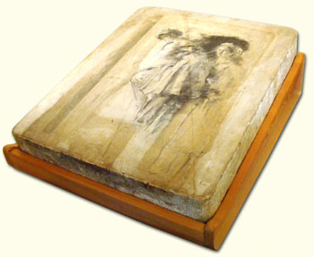 A lithographic stone with a lithographic drawing on its surface by Albert Belleroche (1864–1944).  (The stone is resting on a wooden support for display)