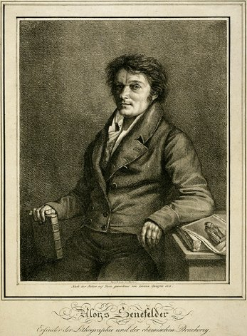 Lithographic portrait of Senefelder.