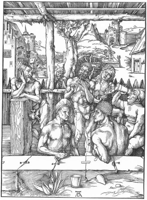 From his Italian years - Durer, The Men's Bath c. 1497 Woodcut British Museum, London