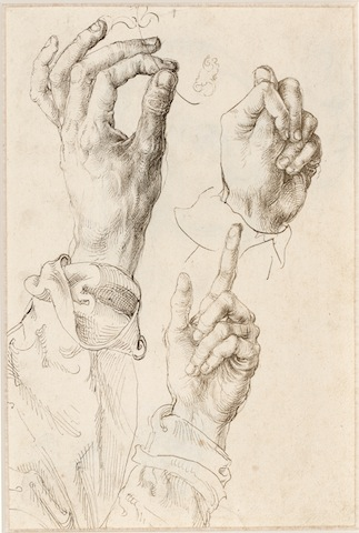 Three studies of the artist's left hand (recto) Albrecht Dürer (1471-1528), c. 1493-94 Pen and ink, 271 x 179 mm, Albertina Museum, Vienna, Inv. no. 26327