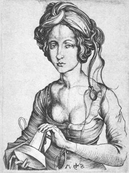 Schongauer, A Foolish Virgin 1480s Engraving, 143 x 108 mm National Gallery of Art, Washington
