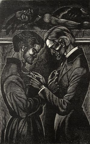 Fritz Eichenberg. Exchanging Crosses. From The Idiot, by Dostoevsky, Wood engraving, 1956, signed in pencil. 7-7/8 x 5 inches.