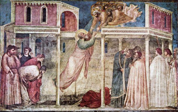 Giotto di Bondone, Peruzzi Chapel, The Ascension of St John the Evangelist. c. 1315 Fresco, 280 x 450 cm
