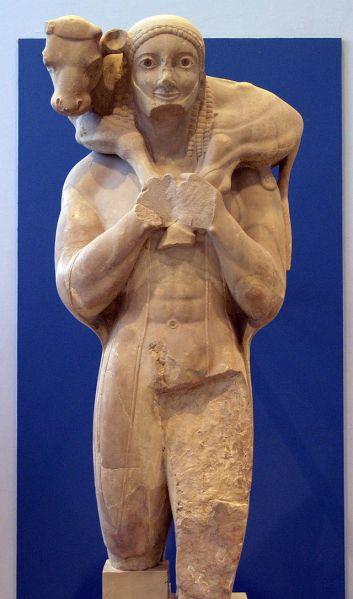 Moschophoros, or Calf-bearer, ca. 570 BC - ca. 560 BC, Athens, Acropolis Museum